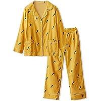 DUKUNKUN Estampado De Zanahorias Pijamas Mujer Algodón De Otoño E Invierno Solapa De Manga Larga Gran Tamaño Suelto Pijamas De Manga Larga,XL