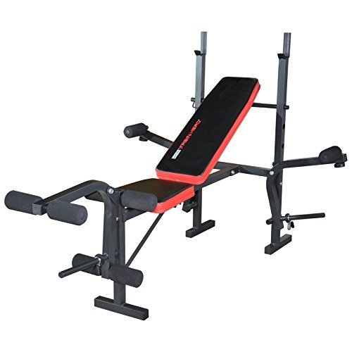 TrainHard Multifunktion Hantelbank Trainingsbank mit Hantelablage Arm/Beincurl Butterfly