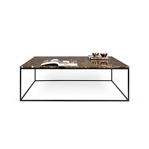 Paris Prix - Temahome - Table Basse Gleam 120cm Marbre Marron & Métal Noir