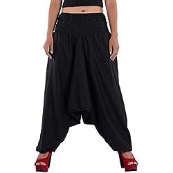 Indi Bargain Women Cotton Plain Afghani Trouser with broad panel (309Black)