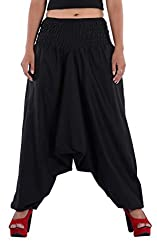 Indi Bargain Women Cotton Plain Afghani Trouser with broad panel (309Black)