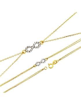Damen Gold Armband Armkette Anhänger mi Zirconia 585 14KT