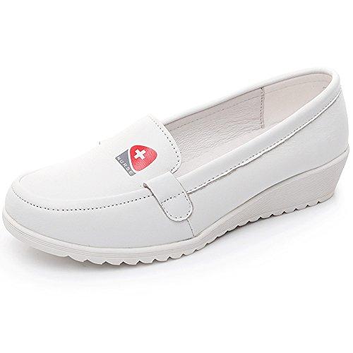 Shenn Damen Plattform Medizin Klassisch Komfort Krankenschwester Rindsleder Schuhe 3355(Weiß,38EU)