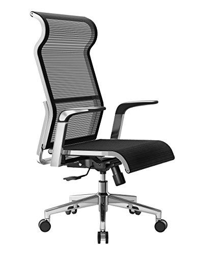 Sihoo Netz Bürostuhl Ergonomisch mit Hoher Rückenlehne, Orthopädischer Schreibtischstuhl hat Wippfunktion und Höhenverstellung, Halsschonend, Höhenverstellung Chefsessel bis 150kg/330LB Belastbar