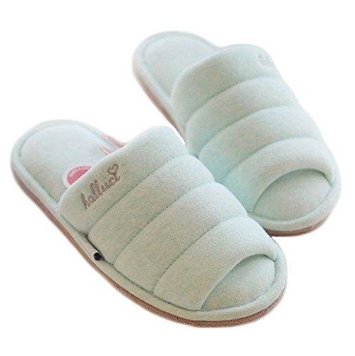 Fortuning's JDS Unisex adulti coppia accogliente cotone Casa calzature comode pantofole Flatform di aperto Sandali dita dei Verde