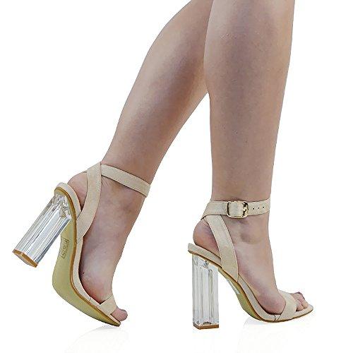 ESSEX GLAM Scarpa Donna Finto Scamosciato Sandalo Tacco Trasparente Perspex Cinturino Caviglia Fibbia Festa Carne Finto Scamosciato