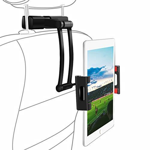 Tablet Kopfstützen Halterung, Einstellbarer Winkel und Höhe universal Tablet Halterung, 360° drehbar, KFZ Halterung für iPad Air Mini 2 3 4, iPad 2018 Pro 9.7, 10.5, Tab, E-Reader von 5.5-10.2 Zoll