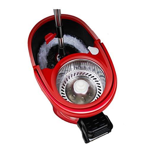 Ytuoba Haushalts-rotierender Mopp-Eimer, Handpressen-Fuß-automatischer trocknender Mopp-freie Hand, die nassen und trockenen Mopp/Schwarz-Rot wäscht hj (Color : Black Red, Size : 4 mop Heads)