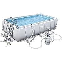 Bestway Power Steel Rectangular Pool Set 404 x201 x100cm  Stahlrahmenpool-Set mit Sandfilteranlage