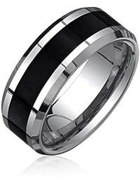 Bling Jewelry Borde Biselado Negro de fibra de carbono Anillo Tungsteno Anillo de Boda 8 mm
