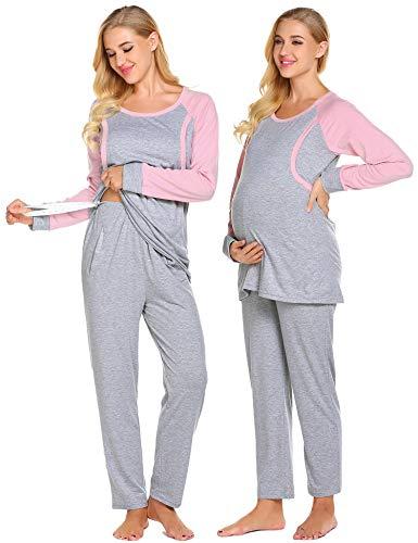 Umstandsmode Schlafanzug Damen Langarm Stillpyjama Nachtwäsche inkl. Oberteil Hose für Schwangere Frauen Herbst (Grau+Rosa, M)