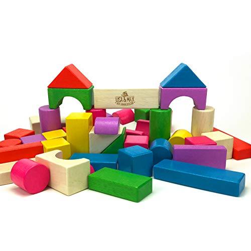 Bausteine aus Holz - Geprüfte Premium Qualität - 50 modern farbige Bauklötze in verschiedenen Größen und Formen - Bunte Holzbausteine für Kinder, Kleinkinder, Babys ab 0 Jahren - Holzspielzeug