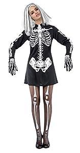 Ciao-Costume Skeleton Woman, taglia unica adulto Disfraces, color negro, (62142)