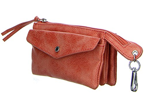 TAMARIS CINZIA Damen Brieftasche Geldbörse oder Kosmetiktasche, Pouch oder Wallet, 16x10x4 cm (B x H x T), 2 Farben: coral oder schwarz comb., 7436171, Farbe:coral comb