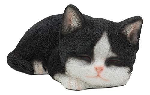 Ebros Dekofigur schlafender Smoking in Schwarz und Weiß, 17,8 cm lang -