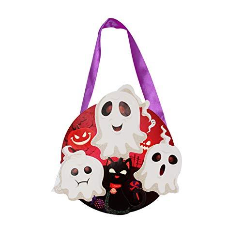 Cosanter Halloween Papier Kleinen Korb Tragbare Süßigkeiten Tasche Kinder Make-up Party Kostüme (Weißes Geister Muster)