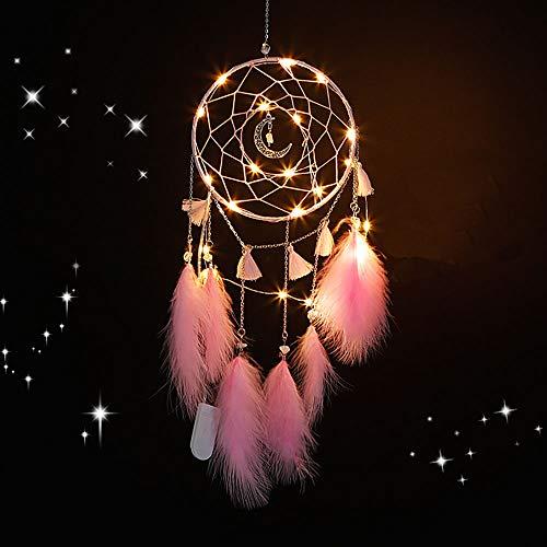 Amorlla Traumfänger mit LED Licht, Handgemachte Dreamcatcher mit Federn, Maiden Zimmer Schlafzimmer Romantische Dekoration, für Wandbehang Wohnkultur Ornamente Handwerk (Rosa) (Dreamcatcher)