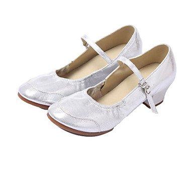 Silence @ Chaussures de danse pour femme Ballet/latine/Jazz/danse Sneakers/moderne/Salsa/hip-hop/Samba en similicuir faible Heelblack Silver
