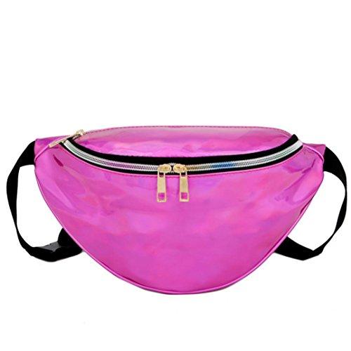 Longra La raccolta del raccoglitore della borsa esterna della spiaggia del sacchetto del messaggero della tasca del laser delle donne Rosa Caldo