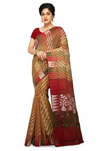Wooden Tant Dhakai Jamdani Handloom Saree