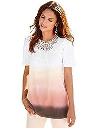 Camiseta Pieza de guipur y Pliegues en el Escote Mujer by Vencastyle - 025466