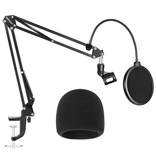 Neewer NW-35 Support de Microphone avec Bonnette Anti-Vent et Filtre Anti-Pop - Kit de Support de Suspension à Bras Ciseaux Réglable (PAS Compatible avec Blue Yeti, Snowball, Blue Spark)