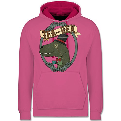 Comic Shirts - Tea-Rex - Kontrast Hoodie Rosa/Fuchsia