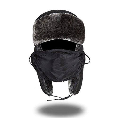 Saoirse Kunstfell Jagd Bomber Wintermütze Mit Earflap Winddicht Maske (Bomber Trapper)