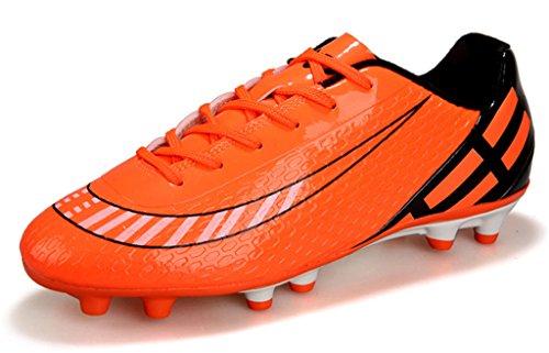 NEWZCERS adulti unisex bambini formatori erba scarpe da calcio lo sport pizzo Scarpe da calcio arancia