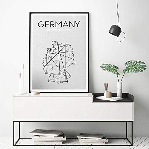 wydlb Deutschland Karte Drucke Wandkunst Poster, abstrakte Deutschland Karte Poster minimalistischen Leinwand Gemälde, Wohnzimmer Home Decoration 60x80 cm kein Rahmen