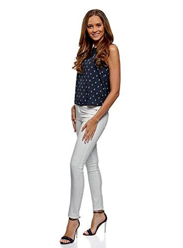oodji Ultra Femme Top à Finition Contrastante Bleu (7910Q)