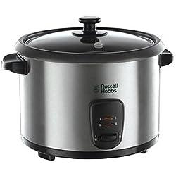 Russell Hobbs 19750-56 Cook Cooker Cuisinière, Fonction de Maintien, 1.8 L, incl. Insert vapeur, cuillère à riz, tasse à mesurer, 700 Watt, Acier Inoxydable/Noir