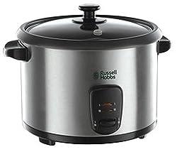 Russell Hobbs 19750-56 Reiskocher Cook@Home, Warmhaltefunktion, 1.8l, inkl. Dampfgarer-Einsatz, Reislöffel, Messbecher, 700 Watt, Edelstahl/schwarz