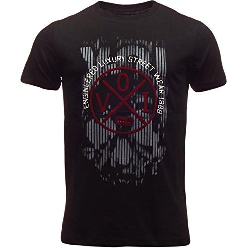 VOI Herren T-Shirt, Durchgehend Schwarz - Schwarz
