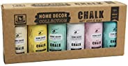 Itsy Bitsy 40513 Chalk Acrylic Paint Kit, Lemon Chiffon, Tattered Lace, Muted Teal, Snow, French Rose and Sail