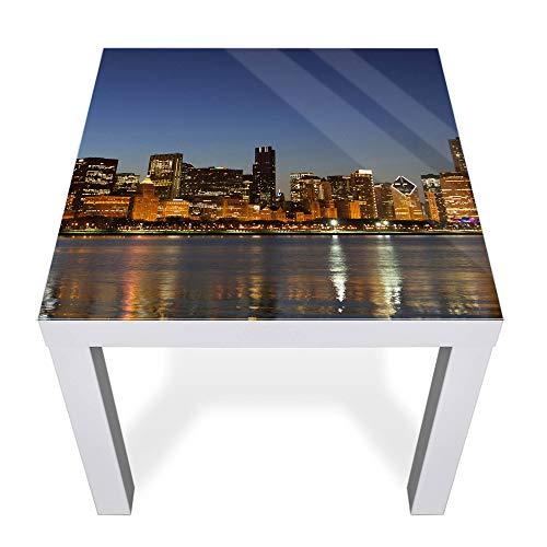 Chicago Beistelltisch (banjado Glasplatte für IKEA Lack Tisch 55x55cm | Abdeckplatte aus Sicherheitsglas | Motiv Chicago Skyline | Tischplatte für Beistelltisch, Sofatisch weiß Glasplatte & Tisch)