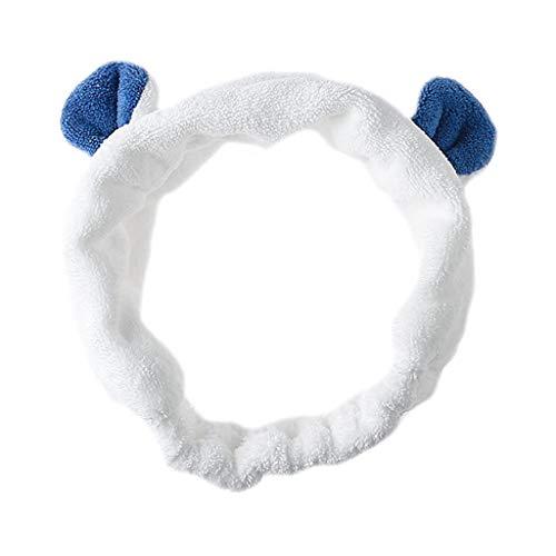 Rabbit Bear Ear Animal Headband Women Girl Winter Thicken Plush Wide Hairband Contrast Color Stretch Makeup Headwrap 7 ()