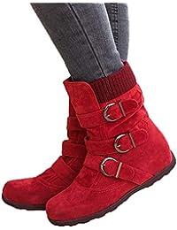 Botas Mujer Invierno Calentar Piel Forro Planos Botines Nieve Ante Botita Medianas Ankle Boots Antideslizante Elásticos Comodos Negro Marrón Gris Rojo 35-43