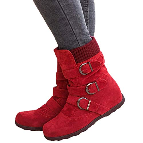 JOYTO Halbstiefel Damen Gefüttert Winter Flache Fell Leder Schnallen Weiter Halbschaft Stiefel Wildleder Pelz Winterstiefel Warm Ankle Boots Rot 41