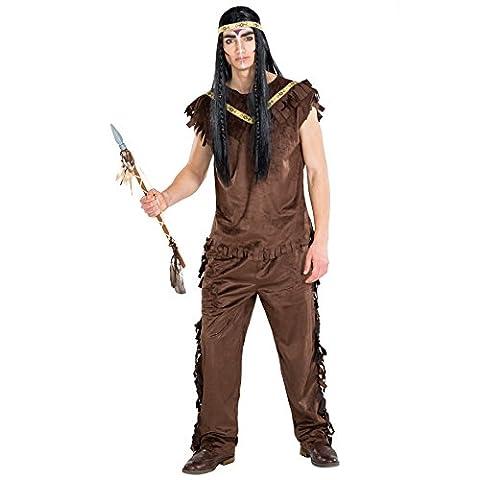 Déguisement pour homme indien | Magnifique costume & bandeau élastique | wild west indienne costume carnaval (XL | no. 300654)