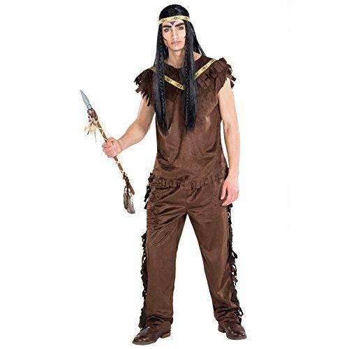 Stämme Kostüm Der Welt (Herrenkostüm Indianer Cherokee | Kostüm + Haarband| Cowboy Häuptling Indianerin Verkleidung (M | Nr.)