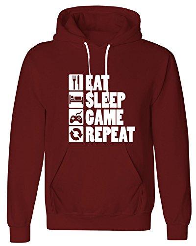 B Mens Eat Sleep Game Repeat Printed Fleece Hoodie PS4 XBox Gamer Sweatshirt#(124039Wine Hoodie/White Eat Sleep Game RepeatLarge)