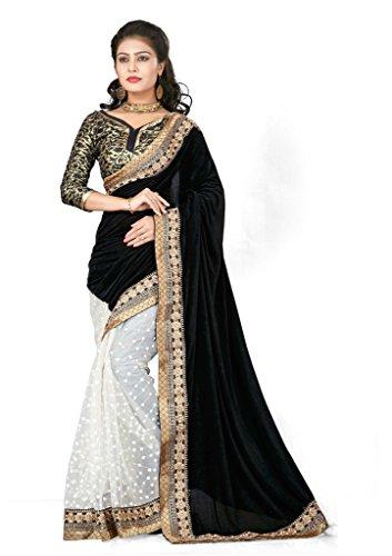 Designer Velvet + Net Sarees With BROKET BLOUSE Blouse Material