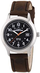 Timex Expedition Unisex Quartz Watch with Black Dial Analogue Display and Brown Leather Strap T49954SU
