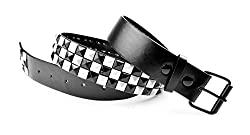 Dabung - Women's Genuine Faux Leather Belts - Black White Studded/XL