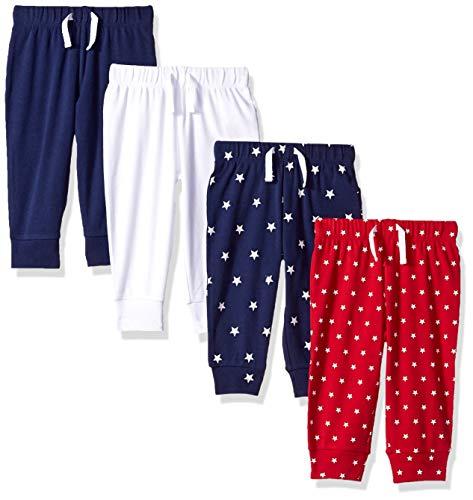 Amazon Essentials - Pantalones con cintura elástica para niño (4 unidades), Azul/Rojo/Blanco,...