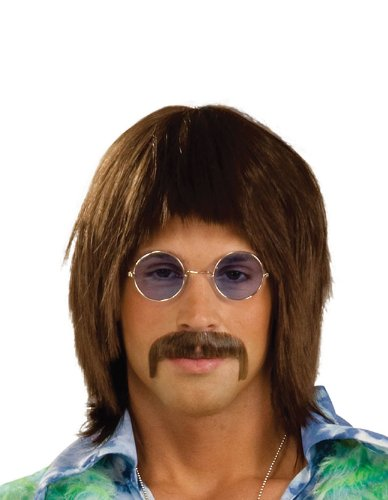 John Lennon Brown Hippy Wig  for Men's 60s/70s fancy dress
