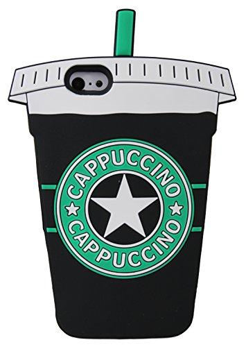 Cappuccino tasse de forme 3D en caoutchouc souple en silicone nouveau cas couvrir pour Apple iPhone SE (noir) © Sloth Cases Black