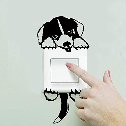 WLGOOD Schwarzer Hund Lichtschalter Aufkleber 31 lustige Hündchen Wandtattoo Home Decor Kinderzimmer Aufkleber,Geschenk,Festival