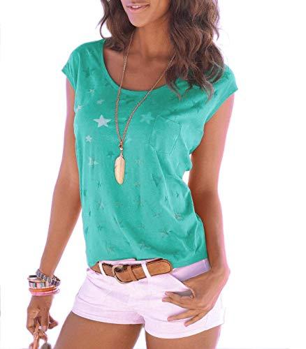 Nur Grünen T-shirt (ELFIN Damen T-Shirt Kurzarmshirt Basic Tops Ärmelloses Tee Allover-Sternen Druck Shirt Sommer Shirt (Frisches Grün, M))